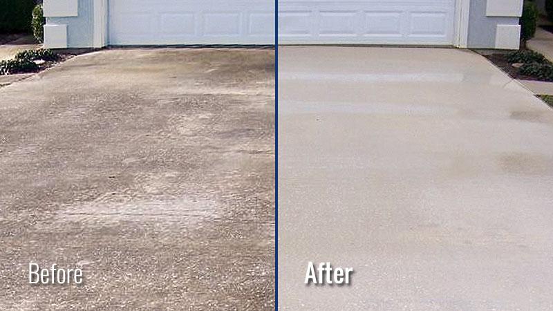 Concrete Patio With A Pressure Washer
