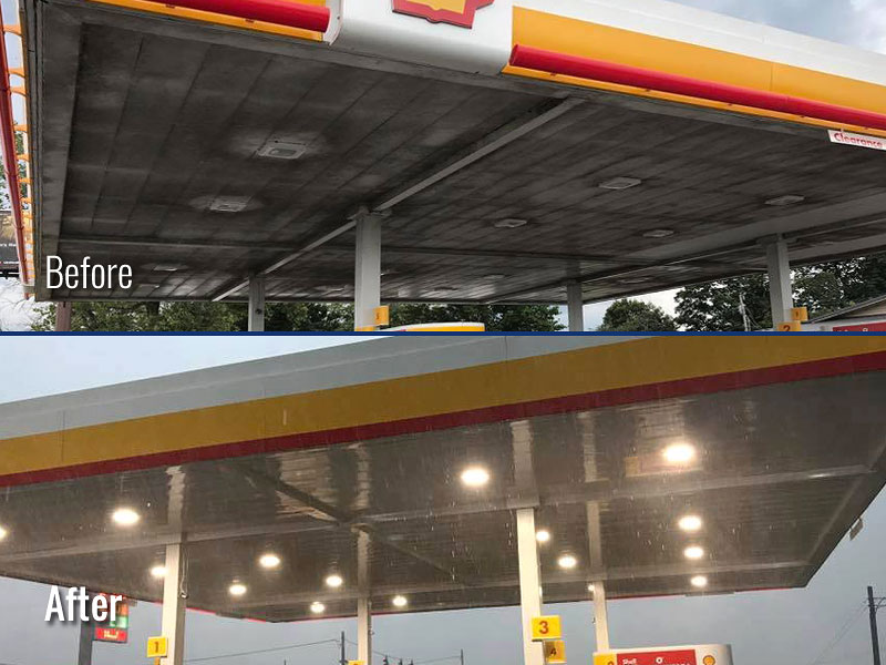 Gas Station Canopy Cleaning in Louisville KY & Gas Station Pressure Washing services in Louisville KY and Indiana