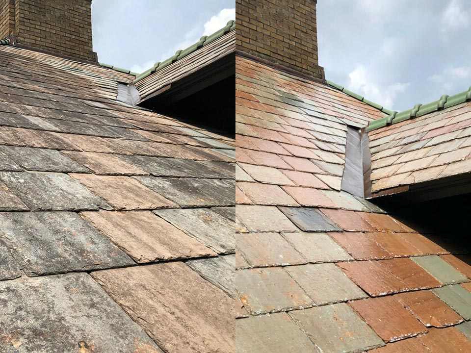 Soft Pressure Roof Washing Slate Roof Cleaning For